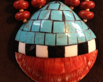 Sale - Vintage Santo Domingo Pueblo Indian Inlay Shell Necklace