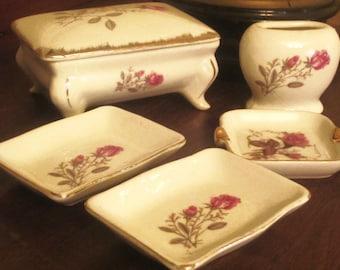 Vintage Porcelain 6 pc Vanity Set White with Pink Roses Stamped Japan
