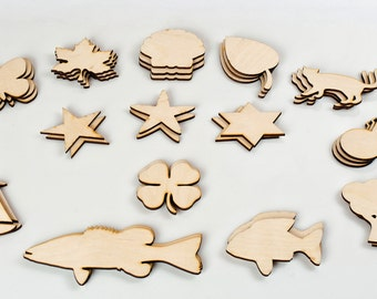 Unfinished Wooden Charms or Wood Gift Tags - SET of 50