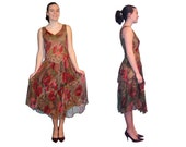 Vintage Floral Sundress lovely SHEER Floral gauze tiered ruffle layers India boho BIG Poppy flowers XS-S