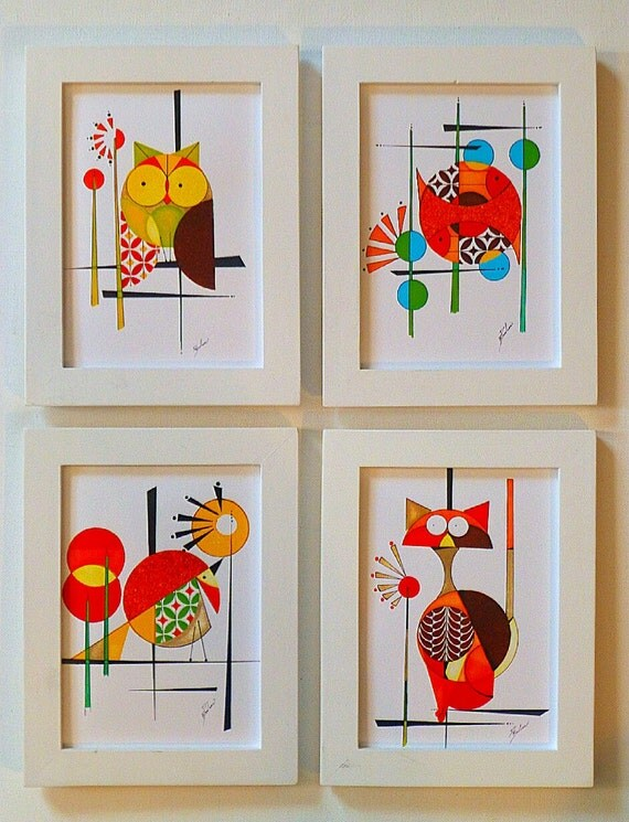Set Of 4 5x7 Prints Of Original Mid Century Modern Styled