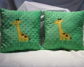Reserved for suzzies926hopper  2 Small Green Minky Dot Pillow with Giraffe Applique