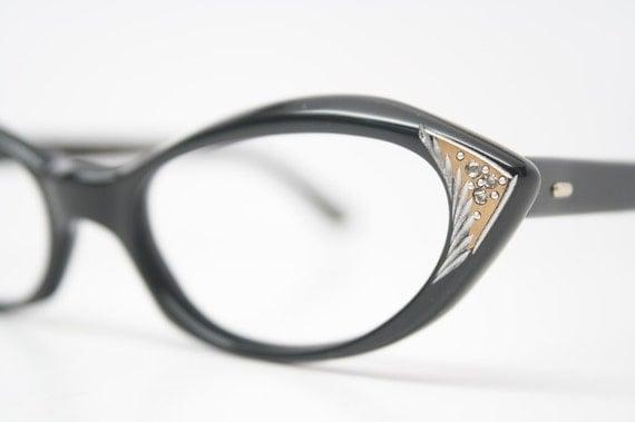 Rhinestone Cat eye glasses authentic vintage by PinceNezShop