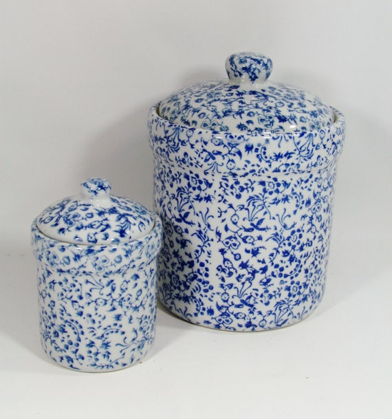 blue amp white chintz ceramic canister set