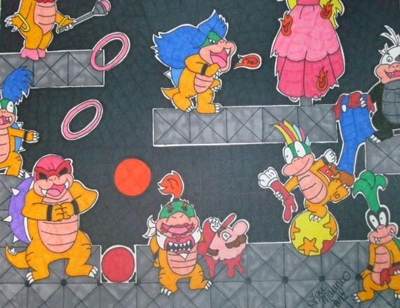 Mature Koopalings and Mario Horror Fanart Drawing 9x12, Colorful Cartoon Horror Fanart, Video Game Drawing, Alternative Horror Gift Idea