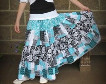 Girl's Skirt - Handmade long twirly skirt - 4 tier skirt - Girl's long modest skirt -Boutique Skirt - Girl's clothing - Childrens clothes -