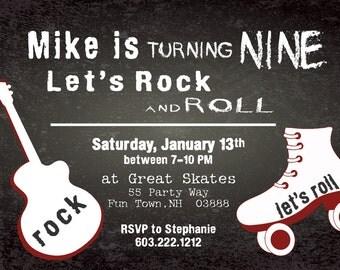 Rollerskating Birthday Invitation Printable Rock and Roll Guitar Invitations Rollerskating Party Invites Chalkboard Tween Any Age Maroon Boy