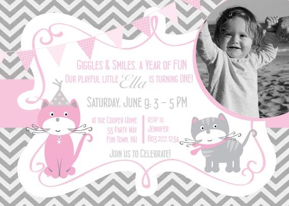 Cat Birthday Party Invitation Kitty Cat Birthday Invites – Cat Birthday Invitations