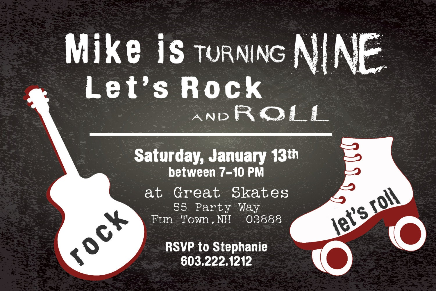 Rollerskating Birthday Invitation Printable Rock and Roll – Rock and Roll Party Invitations