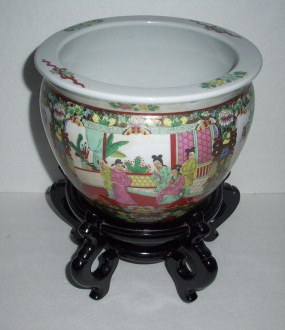 Items similar to oriental fish bowl planter jardiniere for Fish bowl stand