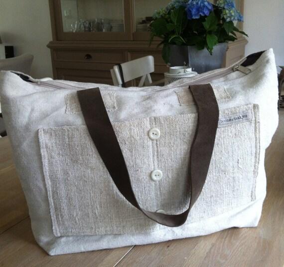 linen shoulder bag with leather, crossover bag, messenger, tote, slouchy bag
