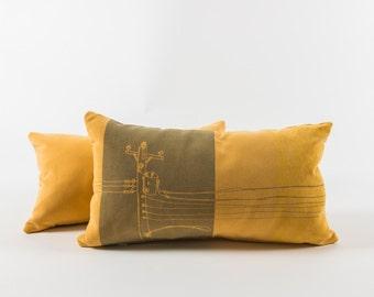 Yellow slipcover cushion - Urban pattern