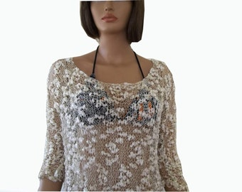 Handmade beach dress, cover up, Transparent  Butterfly Blouse, ivory tops, gift for her, gift for mom, valentines day gift, womens clothing