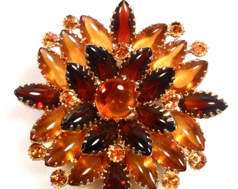 1950s Vintage RHINESTONE Brooch Amber and Topaz Rhinestones Tri colored Glass Stones