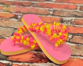 balloon flip flops, flip flops, girls flip flops, decorated, fancy, shoes, girls shoes, embellished flip flops, children's shoes size 13-1