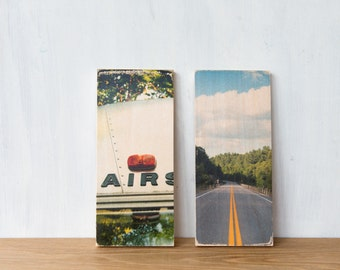 Vintage style image transfer Mini's - Set of any 2 - Fine Art Photography on Wood by Patrick Lajoie