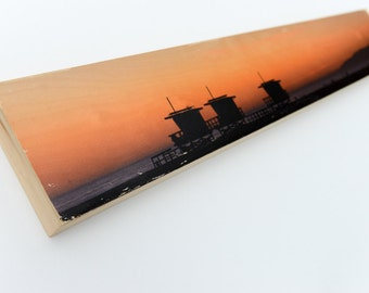 "Beach Sunset Image Transfer, 'Venice Sunset' 6""x36"" on Wood Panel by Patrick Lajoie Fine Art Photography"