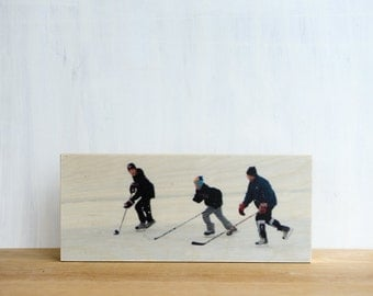 "Ice Hockey, Photo Art Block, Limited Edition, Image Transfer on 6""x14"" Wood Panel, 'Triple Play' by Patrick Lajoie, pond shinny, winter"
