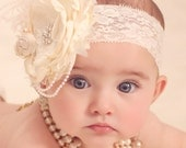 Vintage Lux Ivory and Cream Handmade Flower Headband, Feathers, Handrolled silk rosettes, pearls, Crystals veiling