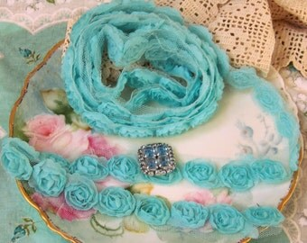 Blue Rosette Ribbon, Rosettes, Rosette Ribbons, Rosettes Trim, Blue, Romantic Ribbon, Romantic Trims, Shabby Style, Cottage Chic, Glam