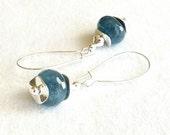 Blue Silver Dangle Earrings, Denim Cobalt Navy Semiprecious Gemstone Statement  Everyday Jewelry, Gift Guide, Spring 2014 Trends Under 25