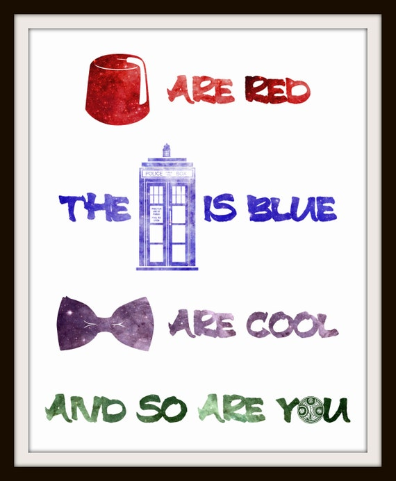 Doctor Who Inspired Rhyme Nursery Art - Choose Background Color 8x10 Inch Poster Print - Geek-a-bye Baby - Sci-Fi Geek, Fez, Tardis, Bow Tie