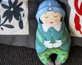 sleeping doll: painted art doll - soft sculpture