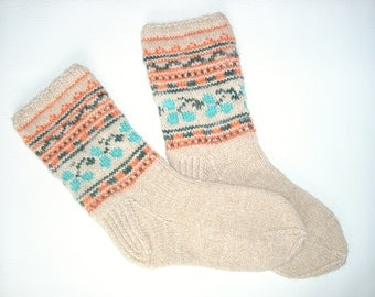 Hand Knit Wool Socks -Colorful for Women - Size S,M,L
