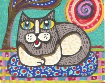 Cat Art, Whimsical Art, Mixed Media Art, Childrens Room Decor, Art For Kids, Grey Cat Art, Cat Print, Sunbathing Cat  by Paula DiLeo