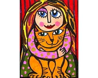 Whimsical Art, Cat Art, Girls Room Decor, Whimsical Girl Print, Orange And Green, Funny Cat Print, Number 1 Cat  by Paula DiLeo