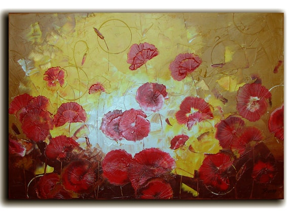 """Original Large ABSTRACT Red Poppies Oil Painting - palette knife - by Tatjana Ruzin - Floral art 36""""x24"""""""