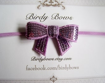 Lavender Sequin Bow Headband, Baby Headbands, Infant Headbands, Girl Headbands, Baby Girl Headbands, Baby Bow