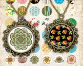 Art multicolor flowers Circles Digital Collage Sheet 1x1 inch. Printable round images for pendants cabochon button 021