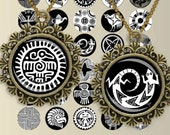 North American Indian Motifs Black and white Circles Digital Collage Sheet 1x1 inch. Printable round images for pendants cabochon button 183