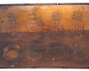 Vintage print block, canning jars, Mason jars, copper, wood, circa 1950s
