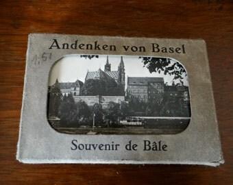 Vintage mini, photo, postcards, set of 10, Souvenir of Basel, 1940s