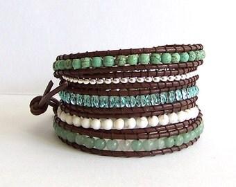 Turquoise Leather Wrap Bracelet - Aventurine, Turquoise, Crystal, Brown Leather - Boho Artisan