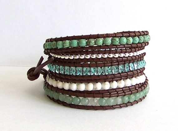 Turquoise Leather Wrap Bracelet - Aventurine, Turquoise, Crystal, Brown Leather - Boho Artisan
