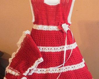 Elegant red crocheted dress