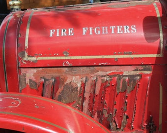 Rusty, Vintage Red Fire Truck - Color Photograph