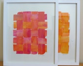 Modern Sculptural Woven Paper Collage Bold Fushia With Orange