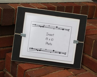 8x10 Picture Frame - Wood - Distressed Edges - Holds an 8x10 Photo - Black & White