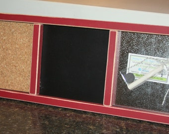 Memo Board - Magnetic, Chalk, Cork Board - Wood Frame - Distressed Edges - Small - Barn Red