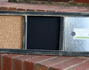 Memo Board - Wood Frame - Distressed Wood - Magnetic Board, Chalkboard, Cork Board - Small - Distressed Black