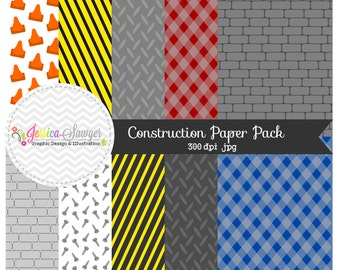 INSTANT DOWNLOAD,  construction digital paper - tool background - commercial use - brick background - toolbox texture - card making -