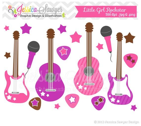 INSTANT DOWNLOAD, Little girl rockstar clip art - guitar clipart ...