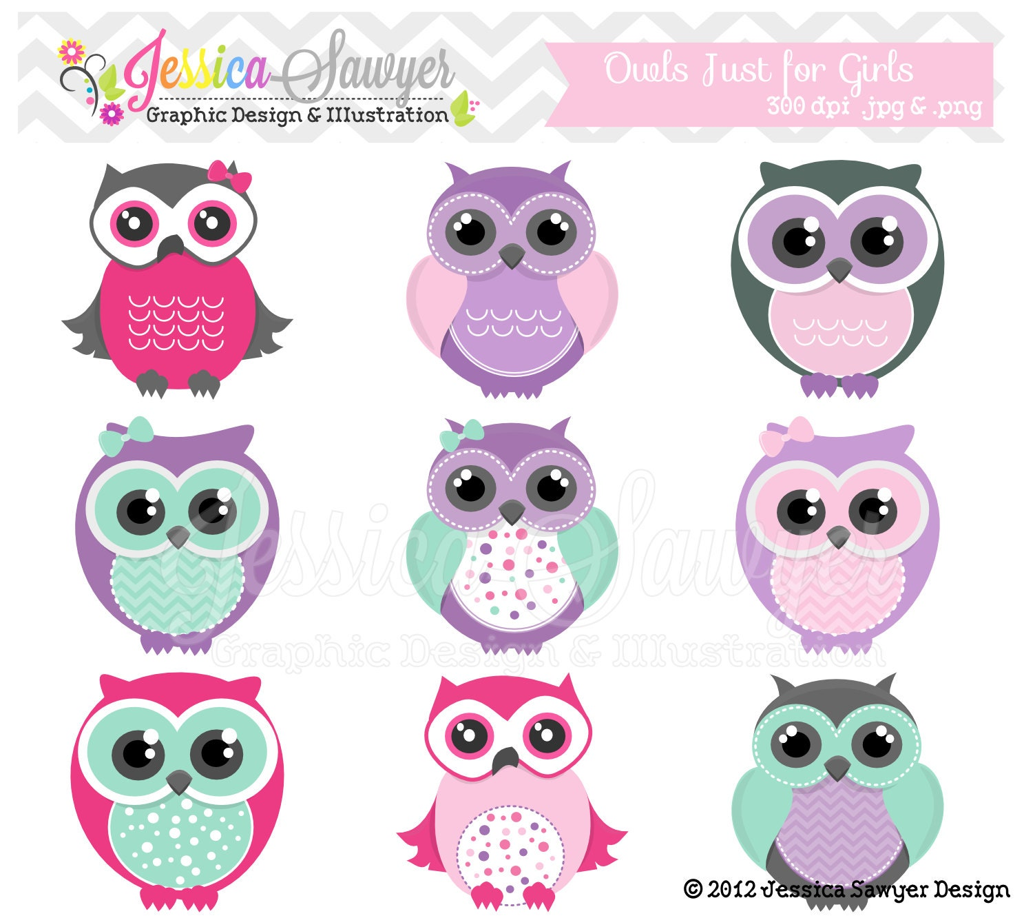Pink Owl Owl clipart, girly pink
