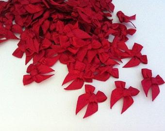100PCS of Satin Ribbon Bow Applique Embellishments Dark Red Bows
