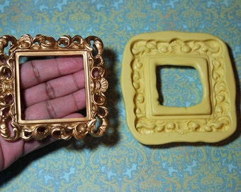 Large Square Scroll Frame Silicone Mold B, 3 by 3 inches