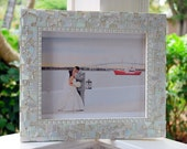 Wedding Picture Frame, Mosaic Photo Frame, 8 x 10 All White Picture Frame